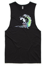 Load image into Gallery viewer, Surfing Unicorn Sleeveless Tank Top - Black