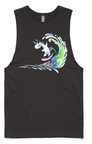 Surfing Unicorn Sleeveless Tank Top - Coal/Grey