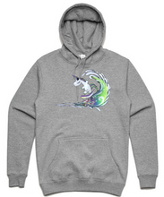 Load image into Gallery viewer, Surfing Unicorn Hoodie - Grey