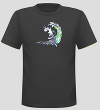 Load image into Gallery viewer, Men's Surfing Unicorn Short Sleeve  Surf T-shirt - Black