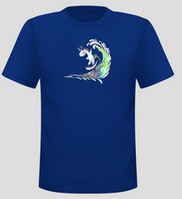 Load image into Gallery viewer, Men's Surfing Unicorn Short Sleeve  Surf T-shirt - Blue