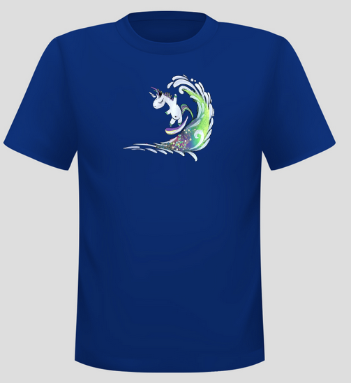 Men's Surfing Unicorn Short Sleeve  Surf T-shirt - Blue