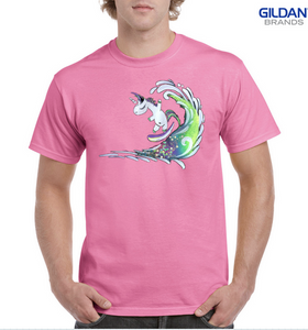 Surfing Unicorn 100% Cotton Classic Fit T-shirt - Pink