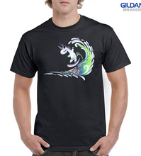 Load image into Gallery viewer, Surfing Unicorn 100% Cotton Classic Fit T-shirt - Black
