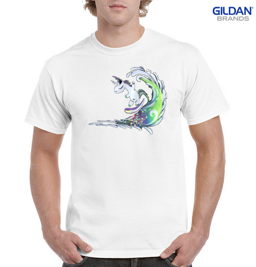 Surfing Unicorn 100% Cotton Classic Fit T-shirt - White