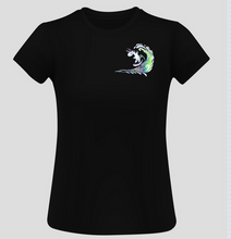Load image into Gallery viewer, Ladies Surfing Unicorn Short Sleeve Surf T-Shirt - Black