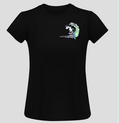 Ladies Surfing Unicorn Short Sleeve Surf T-Shirt - Black
