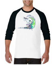 Load image into Gallery viewer, Surfing Unicorn - Raglan 3/4 Sleeve T-shirt
