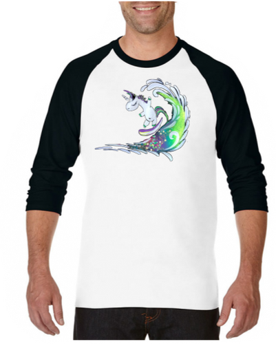Surfing Unicorn - Raglan 3/4 Sleeve T-shirt