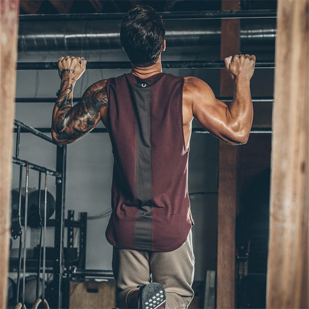 Mens Curved Hem Patchwork Gyms Stringers Vest Bodybuilding Clothing - megawise