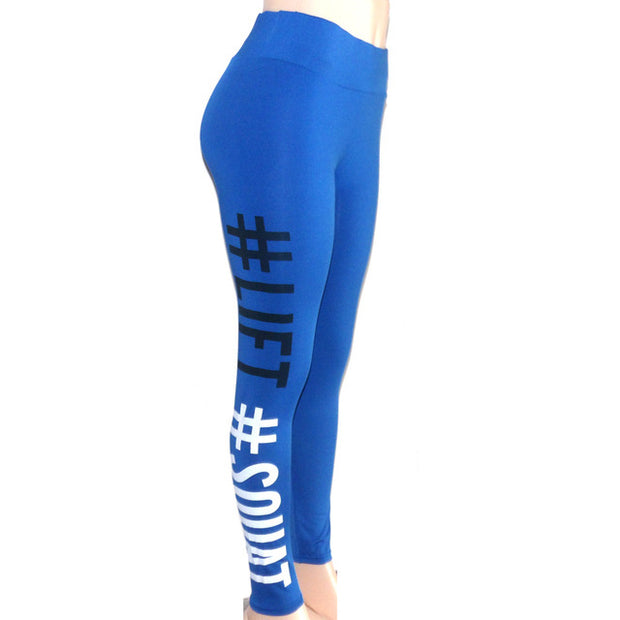 Boss Girl Printing Leggings Slim High Waist Fitness Leggings - megawise