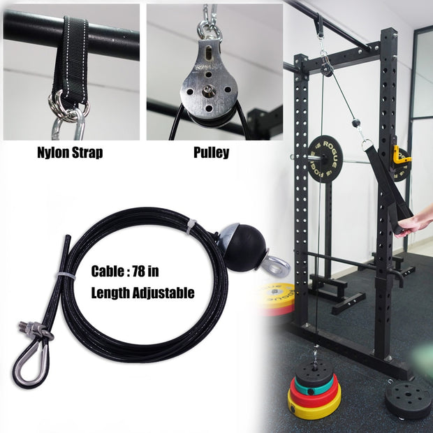 Fitness Pulley Cable System DIY Loading Pin Lifting Triceps Rope Machine - megawise