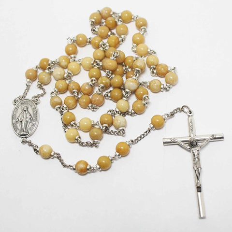 Ambronite Gemstone Silver Toned Rosary - Catholic Shoppe USA