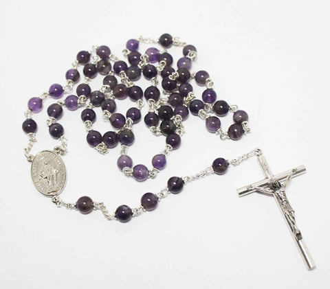 Amethyst Gemstone Silver Toned Rosary - Catholic Shoppe USA