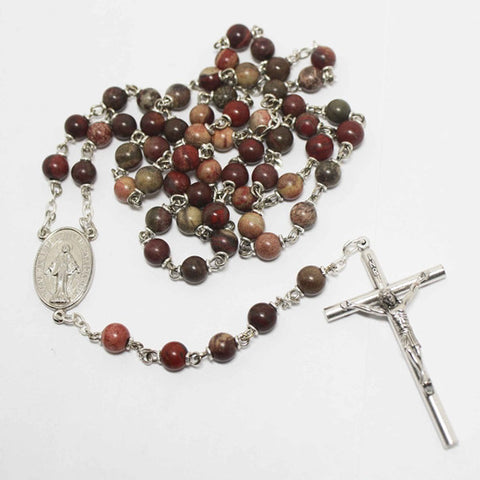 Apple Jasper Gemstone Silver Toned Rosary - Catholic Shoppe USA