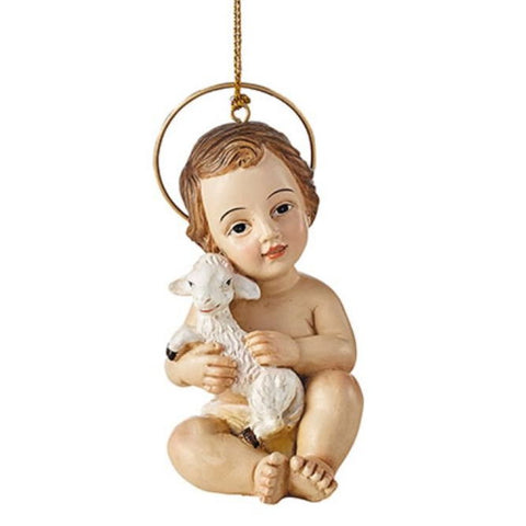 Baby Jesus with Lamb Ornament