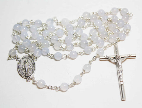 Blue Lace Agate Gemstone Silver Toned Rosary - Catholic Shoppe USA