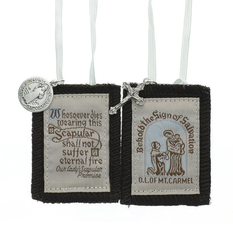 Brown Scapular - White Cord -