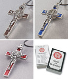 Crucifix Medal of St. Benedict in Brown, Blue or Red - Catholic Shoppe USA - 1