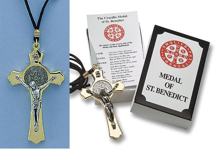 Crucifix Medal of St. Benedict - Brass - Catholic Shoppe USA