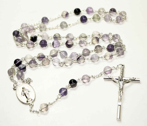 Fluorite Gemstone Silver Toned Rosary - Catholic Shoppe USA