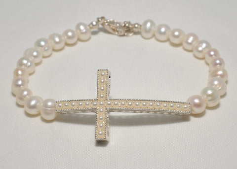 Fresh Water Pearl Cross Bracelet - Catholic Shoppe USA