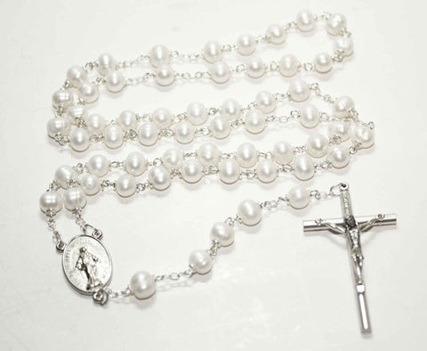 Fresh Water Pearl Gemstone Silver Toned Rosary - Catholic Shoppe USA