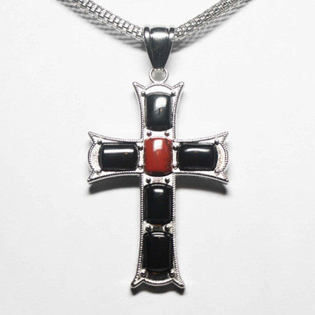 Gemstone Black Agate Red Jasper Cross Necklace - Catholic Shoppe USA