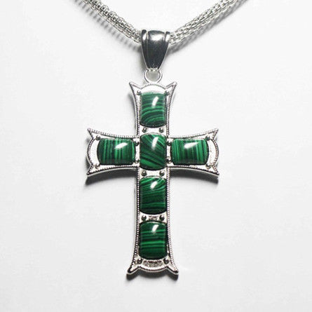 Gemstone Malachite Cross Necklace - Catholic Shoppe USA