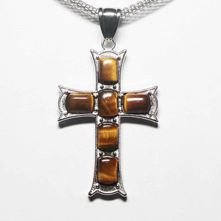 Gemstone Tiger Eye Yellow Cross Necklace - Catholic Shoppe USA
