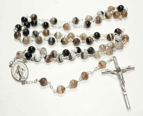 Grey Botswana Agate Gemstone Silver Toned Rosary - Catholic Shoppe USA