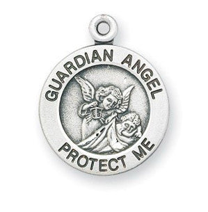 Guardian Angel Round Sterling Silver Medal - Catholic Shoppe USA
