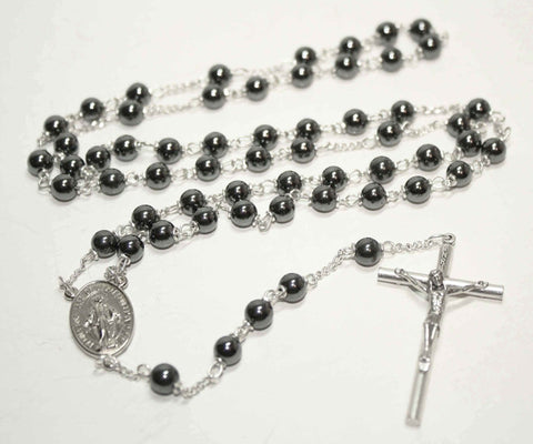 Hematite Gemstone Silver Toned Rosary - Catholic Shoppe USA
