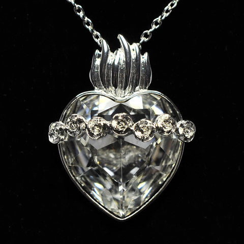 Immaculate Heart of Mary Swarovski Crystal Pendant