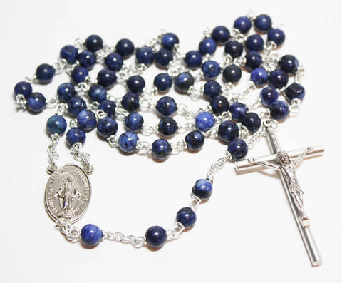 Lapis Lazuli Gemstone Silver Toned Rosary - Catholic Shoppe USA