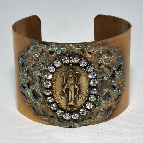 Miraculous Medal Cuff Bracelet - Crystal - Catholic Shoppe USA