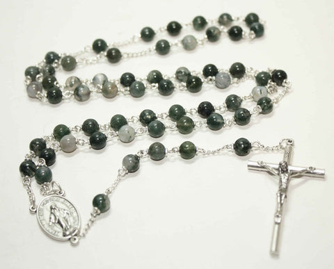 Moss Agate Gemstone Silver Toned Rosary - Catholic Shoppe USA
