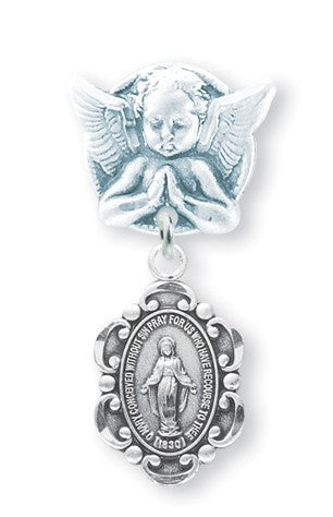Praying Angel Pin with Sterling Silver Baby Miraculous Medal - Catholic Shoppe USA