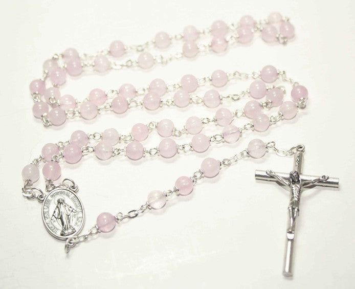 Rose Quartz Gemstone Silver Toned Rosary - Catholic Shoppe USA