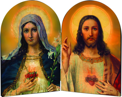 Sacred Heart of Jesus & Immaculate Heart of Mary Arched Diptych
