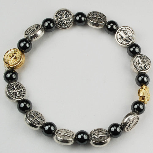 St. Benedict Stretchable Rosary Bracelet - Catholic Shoppe USA