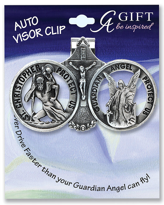 St. Christopher and Guardian Angel Auto Visor Clip - Catholic Shoppe USA