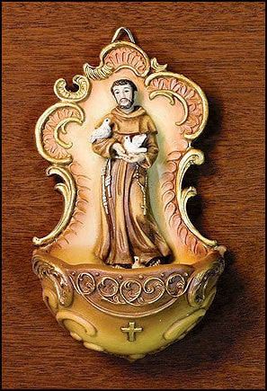 St. Francis Holy Water Font - Catholic Shoppe USA