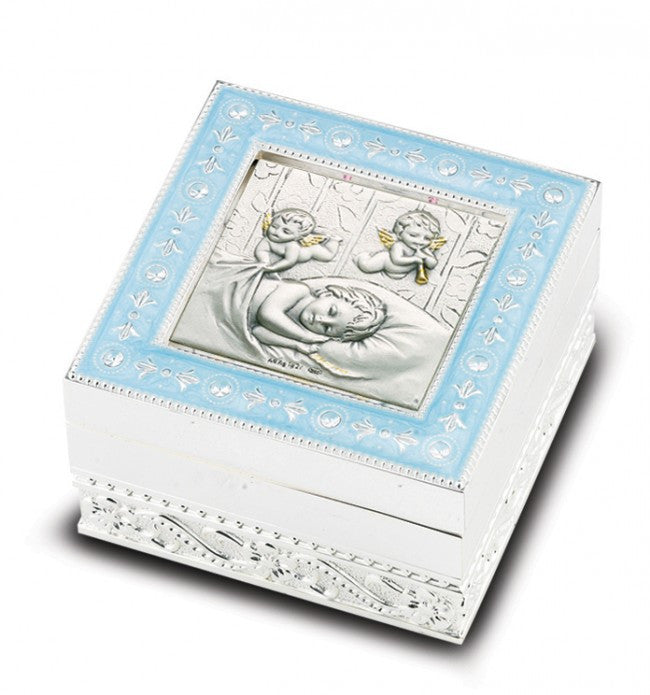 Sterling Silver Guardian Angel Rosary Keepsake Box - Catholic Shoppe USA