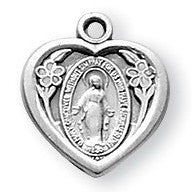 Sterling Silver Heart Shaped Miraculous Medal - Catholic Shoppe USA