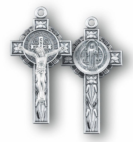 Sterling Silver St. Benedict Crucifix - Catholic Shoppe USA