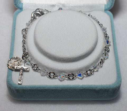 Swarovski Crystal Rosary Bracelet - Catholic Shoppe USA
