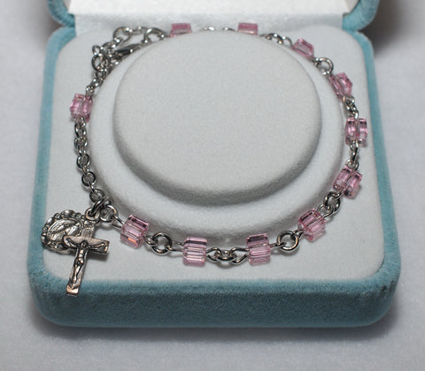 Swarovski Crystal Rosary Bracelet Light Rose Cube - Catholic Shoppe USA