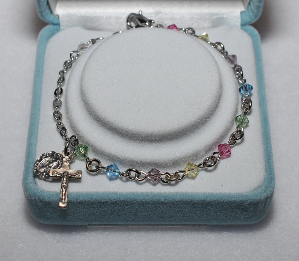 Swarovski Crystal Rosary Bracelet Multi - Catholic Shoppe USA