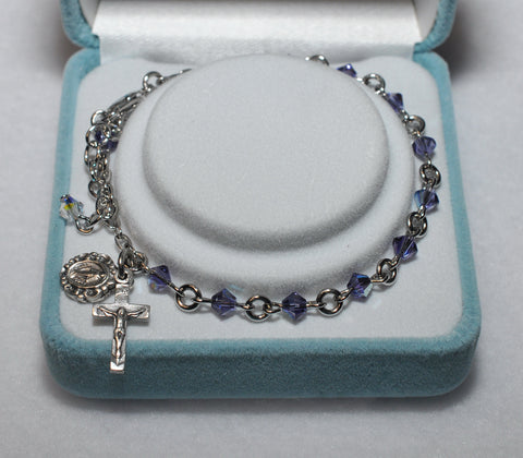 Swarovski Crystal Rosary Bracelet Tanzanite - Catholic Shoppe USA